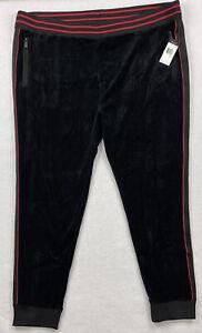 Sean John Mens Velour Track Pants Size 3XL Black Red NEW