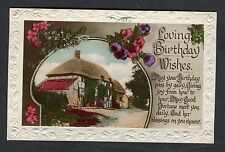 Posted 1928 Birthday Card: Hatched Cottage & Flowers: Fortune Meet You