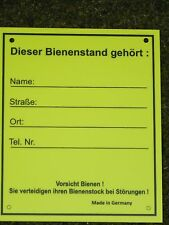 Schild f.Bienenstand,Warnschild,m.Adressfeld,Imker,Imkerei,Bienen,klein 12,5x15