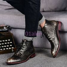 Men Alligator Pattern Croco Lace Up High Tops Ankle Boots Nightclub Casual Shoes