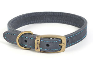 Ancol Leather Timberwolf Blue Dog/Puppy Collar