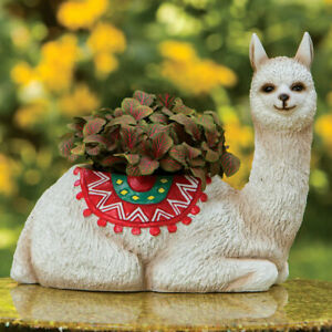 Llama Wearing Colorful Rug Garden Planter Statue w/ Realistic Detail & Texture