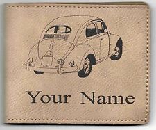 Early Oval Window VW Beetle Leather Billfold With Drawing and Your Name On It