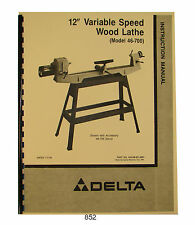 "Delta 12"" Vari Speed Wood Lathe 46-700 Operator & Parts Manual #852"