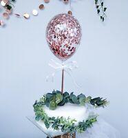 BALLOON CAKE TOPPER GARLAND ARCH BIRTHDAY DECOR ROSE GOLD CONFETTI WEDDING
