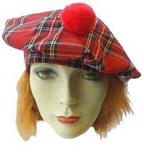 Scottish Red Tartan Traditional Robbie Burns Night Tam o shanter Hat Fancy  Dress 18a3e3e284bc