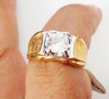 Size 9 Sparkling Stone Design Nr Vintage Mens Usa 14Kt Gold Plate Ring