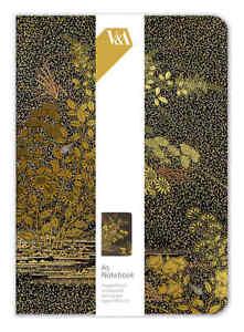 V&A Japanese Blossom Golden Leaves Design A5 Luxury Notebook