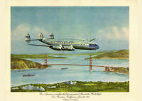 """PAN AM 1947 CONNIE ROUND THE WORLD AD A1 CANVAS PRINT POSTER FRAMED 33.1""""x23.4"""""""
