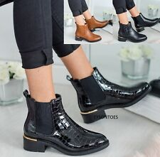LADIES WOMENS FLAT CHELSEA CROC ANKLE BLOCK HEEL SLIP ON PATENT SHOES BOOTS SIZE