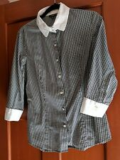 Talbots Med black white checkered gingham button down top shirt 3/4 sleeves EUC