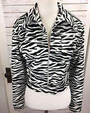 90s Mark Alen Jacket Womens Zebra Faux Fur Cropped Zip-Front The Nanny M CLubkid