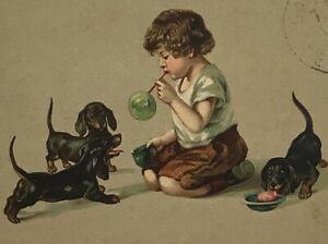 1924 DACHSHUND DACKEL TECKEL  Girl blowing bubbles old Dog Hund Cane PC