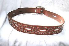 Fossil leather studded belt M studded cut out boho hippy