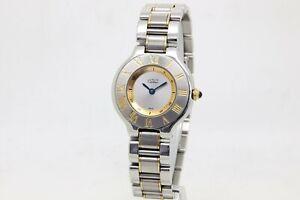 Cartier 21 Must de Cartier Steel & Gold Ladies Quartz Bracelet Watch Ref, 1340
