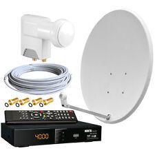 2-Teilnehmer Sat Anlage 60cm Spiegel HDTV Sat-Receiver Twin LNB  0,1dB Satanlage