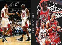 Michael Jordan Scottie Pippen Rodman Basketball Signed Autograph 2 x A4 Poster