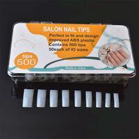 500Pcs Nail Art False French Acrylic Gel Edge Tips Natural Manicure Tools