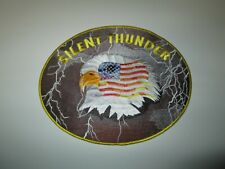"Large Embroidered Fabric Patch Silent Thunder Eagle & Flag 9.5"" Wide"