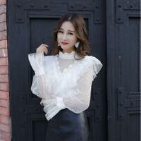 Women Retro Ruffle Collar Shirt Cute Sheer Mesh Falbala Flare Sleeve Blouse Tops
