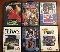 Sega Genesis (6) Lot Sports Bundle Basketball Golf Hockey ALL CIB w/ Manuals