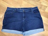 "Lane Bryant Jean Shorts Medium Wash Cuffed Soft Denim Plus Size 24 5"" Inseam"