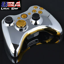 Chrome Silver Modded Full Shell Gold Button for Xbox 360 Wireless Controller USA