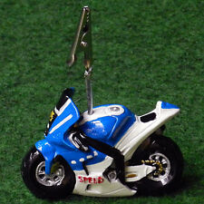 Moto sportive porte photo bleue bapteme mariage communion anniversaire dragees