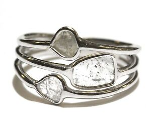 925 sterling silver .30ct I2 H diamond slice womens ring 2.1g size 5 unique