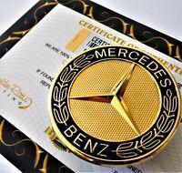 24ct Gold Plated Black Mercedes Bonnet Hood Badge emblem 57mm A B Class AMG 24K