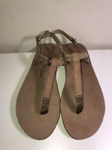 NEW RAINBOW*SOPHIA BROWN LEATHER BRAIDED ANKLE T-STRAP THONG SANDALS FLIPFLOP*9