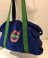 Vintage ESPRIT Large Blue Green Canvas Logo Tote Bag Duffle Weekender Travel 90s
