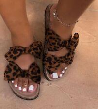 Women Slides 2 Straps Comfy Bow Slide Sandals Size 9