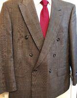 STAFFORD Men Double Breasted Sport Coat Jacket  Blazer 44S New Glen Plaid