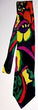 BUGLE BOY Necktie Bold Multi-Color Abstract Design Rayon Fabric Made in USA