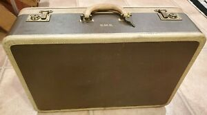 """Vintage Antique Indestructo Luggage Carry On 21""""x 14""""x 7"""" With Key Brown / Beige"""