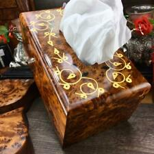 Wooden tissue holder box, hand carved thuya tissues paper holder from Morocco