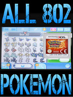 GENUINE POKEMON SUN WITH ALL 802 SHINY POKEMON ALL ITEMS NINTENDO 3DS 2DS MOON
