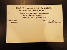 The First Voters of America National Central Committee Vintage Information Card