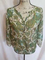 Liz Claiborne Womens Size Small Top Sheer Paisley Gypsy 3/4 Sleeve Buttons Green