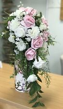 Bridal Wedding Flower Bouquet, Vintage Pink, Ivory Rose, Carnation, Teardrop