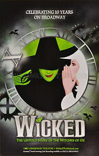 WICKED 10TH ANNIVERSARYT  BROADWAY WINDOW CARD