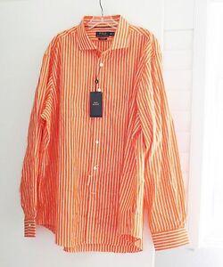 Ralph Lauren Mens 140's 2 Ply Orange Stripe Long Sleeve Dress Shirt Sz XXL - NWT