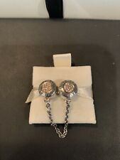 """NEW AUTHENTIC PANDORA """"Signature"""", Clear CZ Retail $175 Safety Chain Charm"""