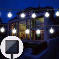 30 LED Solar String Lights Crystal Balls Outdoor Party Wedding Home Fairy Lights