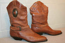 7.5 BROWN LEATHERCRAFT VTG 70s 80s CONCH COWGIRL SLOUCH METAL TIP HEEL BOOT SHOE