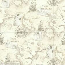 NAVIGATOR VINTAGE MAP NEUTRAL WALLPAPER - ARTHOUSE VIP 622003 - ROOM WALL DECOR