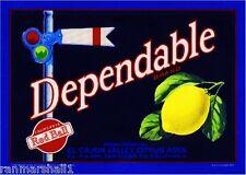 El Cajon San Diego County Dependable Lemon Citrus Fruit Crate Label Art Print