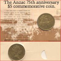 Australian Mint 1990 $5 Coin ANZAC 75th Anniversary Commemorative Issue + Card