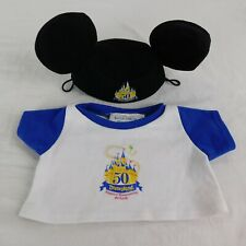 Build A Bear Mickey Mouse Ears & Shirt Rare 50th Anniversary Disneyland Resort